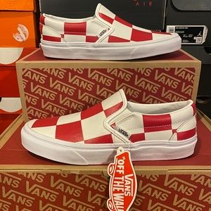 Vans Classic Slip-On Leather Check White Red Shoes
